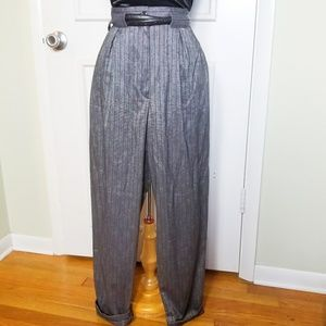 Vintage 80s Gray Hight Waist Pleated Dress Pants